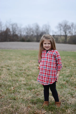 KIDS Red Plaid Tunic