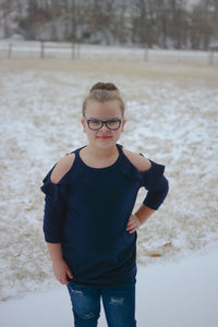 KIDS Navy Cold Shoulder