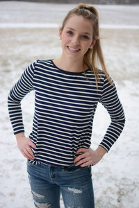 Navy Striped Top!