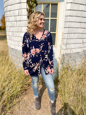 Nellie's Navy Floral Button Down