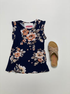 KIDS Navy & Coral Floral Tank