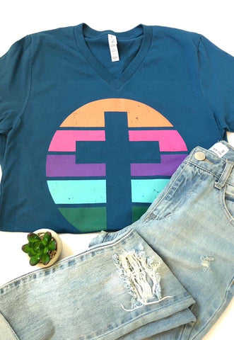 Colorful Cross V-Neck