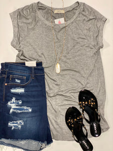 Curvy girl (plus size) Grey Cap Sleeve Top