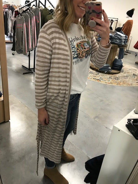 Taupe striped duster cardigan