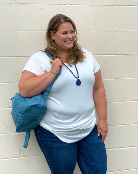 Curvy Girl (Plus size) White Basic Top