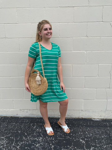 Green & White Stripe Dress