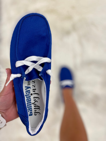 Game Day Blue Boat Shoes