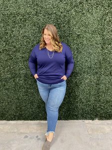 Everyday Curvy Navy Sweater