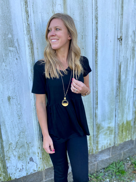 Perfectly Black Peplum Top