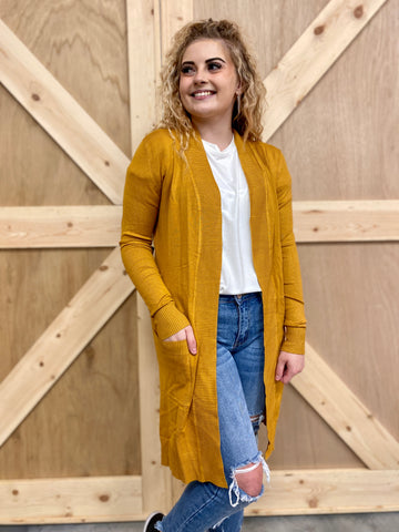 Knit Cardigan With Pockets - Long Length