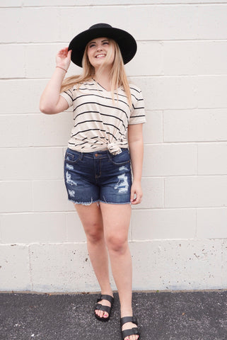 Darla's dark wash distressed shorts