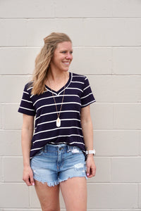 Navy & White Stripe V-Neck