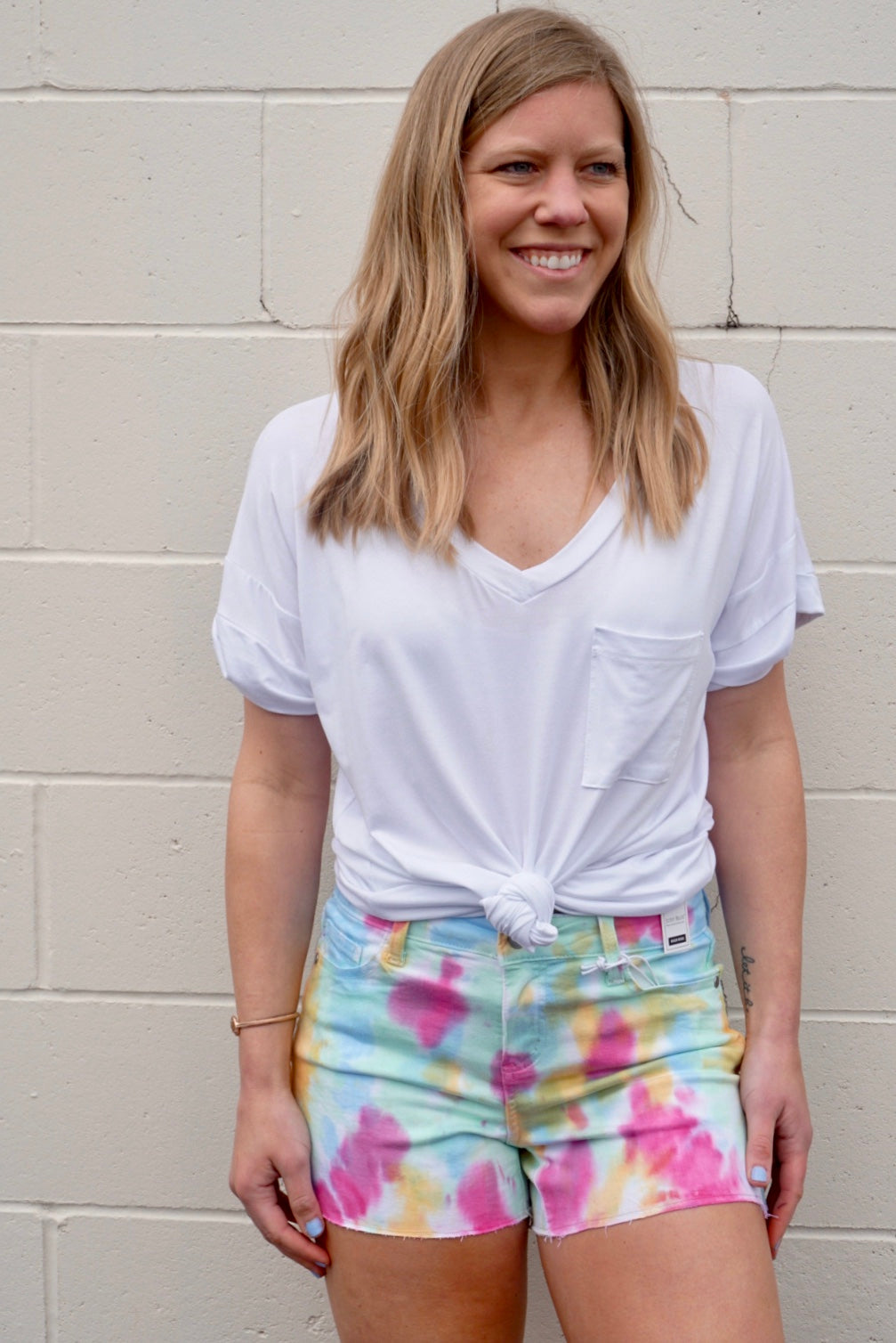 Tie-Dye High Waisted Shorts