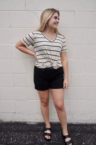 Black Cut Off High-Waisted Shorts