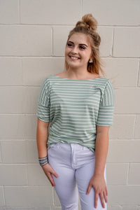 Sage & White Stripe Shirt