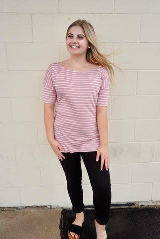 Rose & White Stripe Top