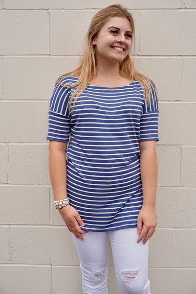 Royal & White Stripe Top