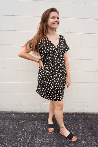 Black Leopard Baby Doll Dress