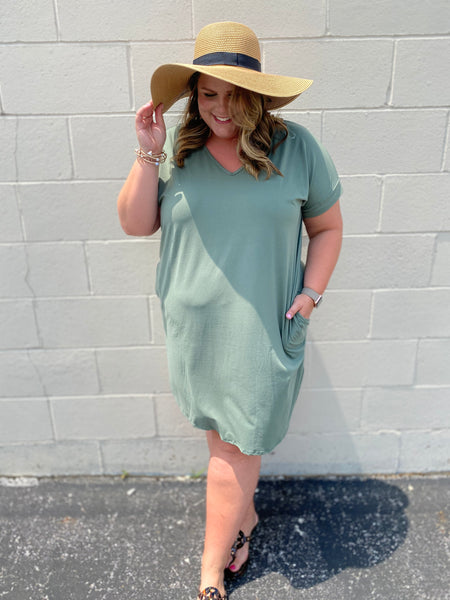 Curvy Girl (plus size) Olive Buttery Dress