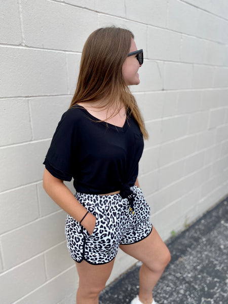 Black & White Leopard Athletic Shorts