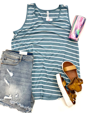 Curvy Girl (Plus Size) Blue & White Stripe Tank