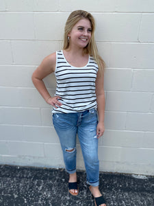 White & Black striped tank