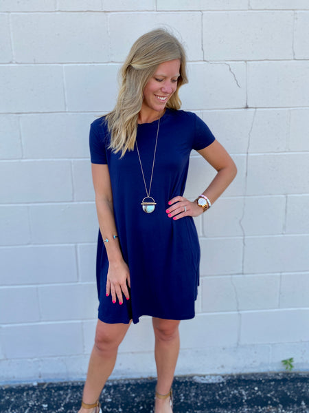 Sierra's Navy Shift Dress
