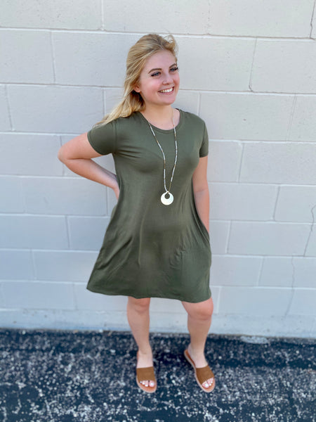 Sierra's Olive Shift Dress