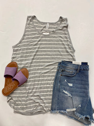 Curvy Girl (Plus Size) Grey & White Stripe Tank