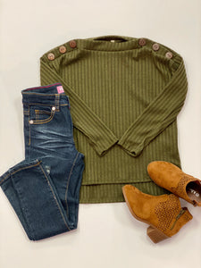 KIDS Olive top with button detail