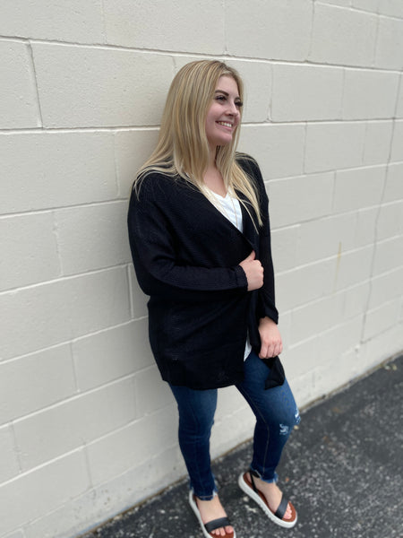 Relaxed Black Cardigan