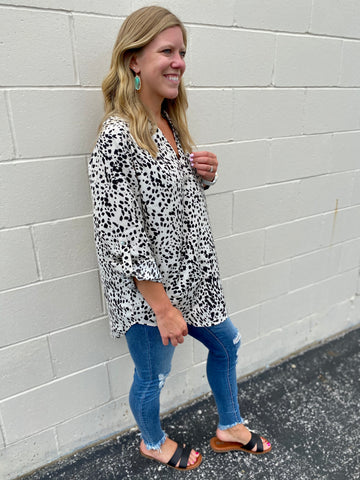 Black & Cream Spotted Blouse