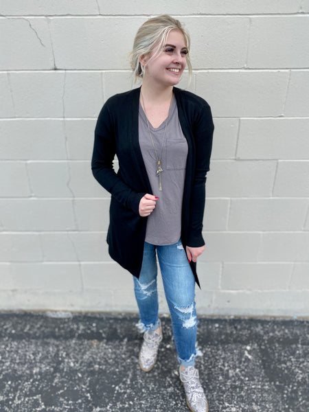 Black Staple Cardigan