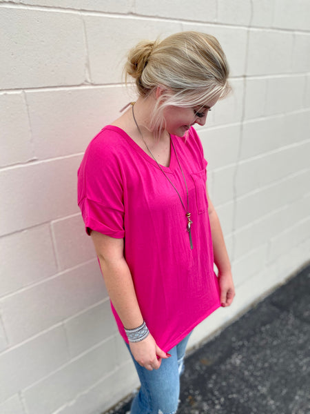Pink Basic Pocket Tee