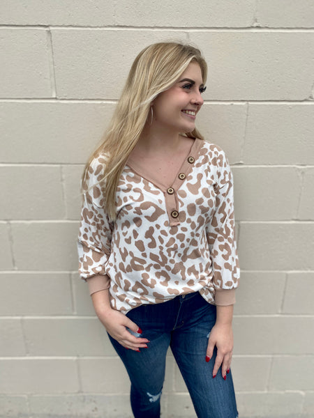 Tan & cream animal print top