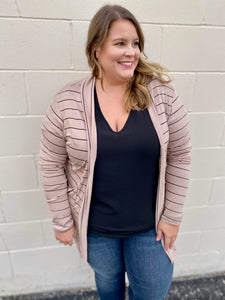 Curvy Girl (Plus Size) Stripe This Way Cardi