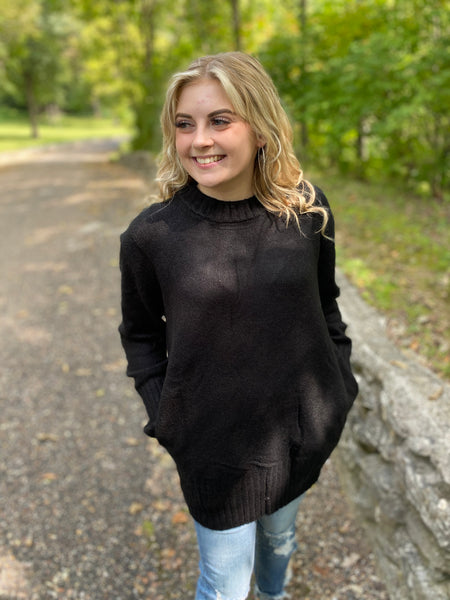 Black Cozy Pocket Sweater