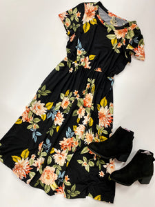 Tween Floral Black Midi Dress