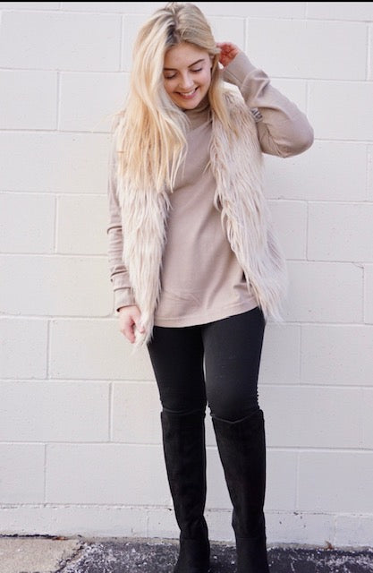 Taupe turtleneck top