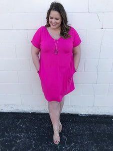 Hot pink buttery dress