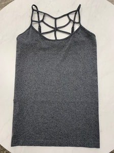 Charcoal curvy girl (plus size) strappy cami
