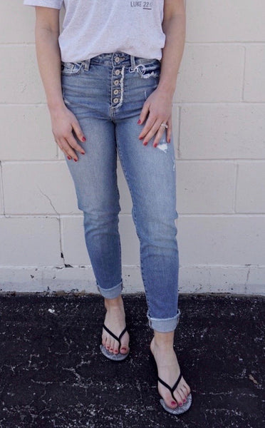 Relaxed Fit Button Fly Jeans