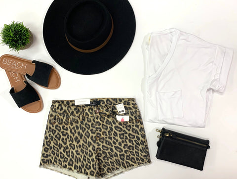 Leopard Cut-off Shorts