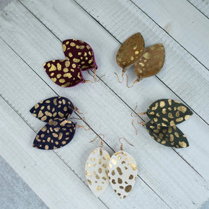 Spotted leaf suede earrings