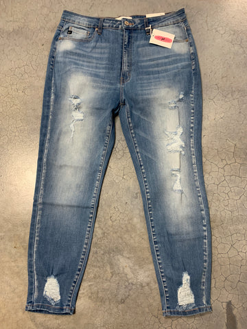Layla's light wash distressed denim