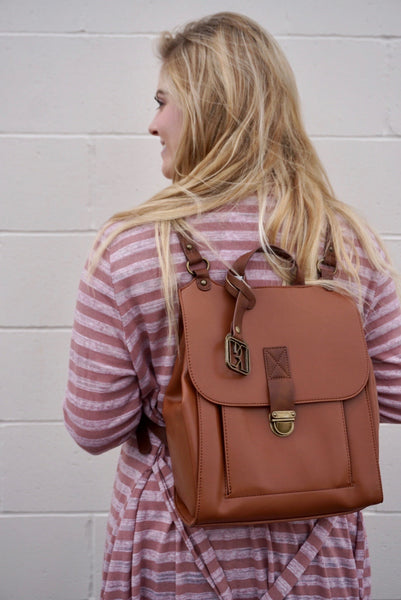 Camel backpack purse