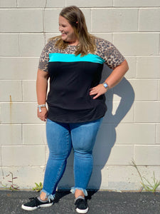 Animal Print Teal top