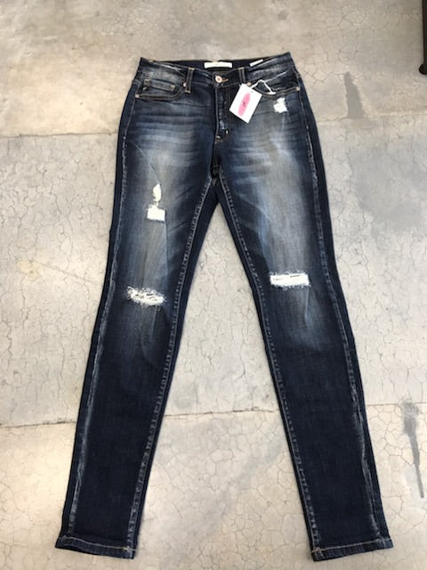 Silly Sue's dark wash distressed denim