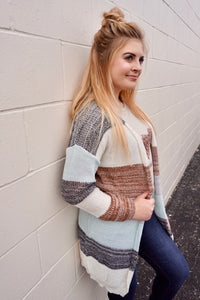 Teal's color block cardigan