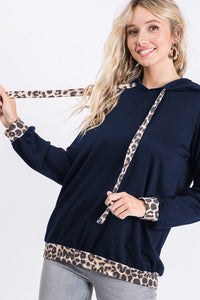 Curvy girl (plus size) Navy hoodie with animal print details